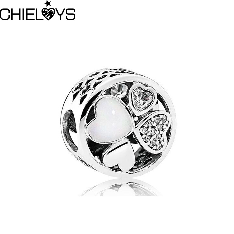 CHIELOYS 2pcs/lot Hearts of Love Charm Beads Pendant Fits Original Pandora Charm Bracelet DIY Jewelry Making BE043