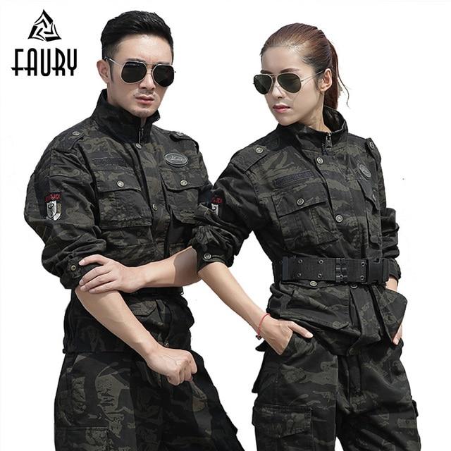 cc773090d57db Military Uniforme fardas Militar Tactical Camouflage Clothing Cotton Suit  Men Black Hawk US Uniforms Army Working Clothes Female