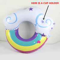 FDBRO 130cm Swimming Ring Inflatable Float Pool With Coasters Rainbow Cloud Summer Water Drifting Inflated Float Bed Lifebuoy