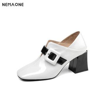 Women's shoes leather high heels buckle women's shoes thick-soled high heels autumn ladies party high heels