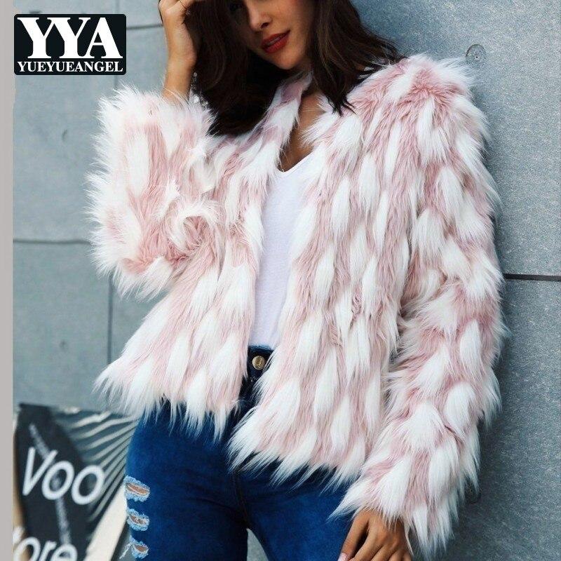 Chaud Personnalité À Femmes Model Couleur Poilu Fourrure Faux Rose Outwear Manteaux De Manches Veste Courte Longues Top Marque Partie Mélange 9H2IeWEDY