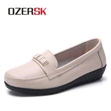 OZERSK yumuşak eğlence Flats kadın deri ayakkabı Moccasins anne loaferlar rahat kadın sürüş bale ayakkabı kadın rahat ayakkabılar