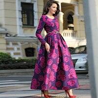 Плюс размеры высокое качество элегантные для женщин с длинным рукавом платье Макси Boho Цветочный жаккардовое платье Вечерние Длинное