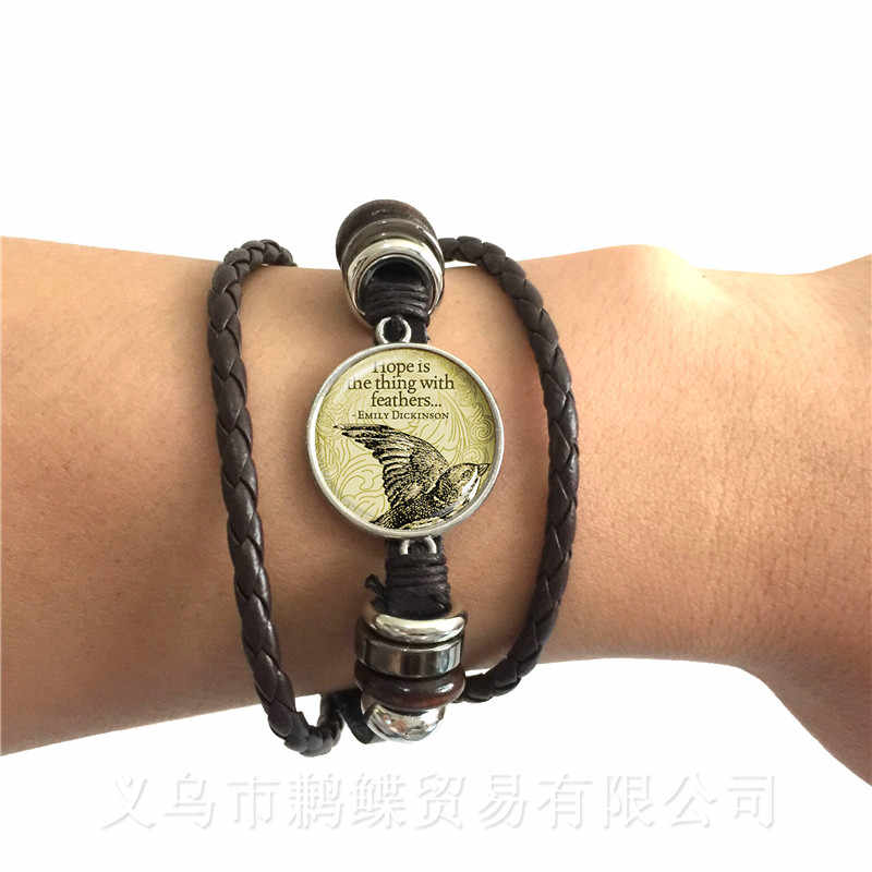Flamingo Pattern Bracelet New Fashion Round Glass Bird Glass Dome Black/Brown 2 Color Leather Cords Adjustbale Bangle Gift