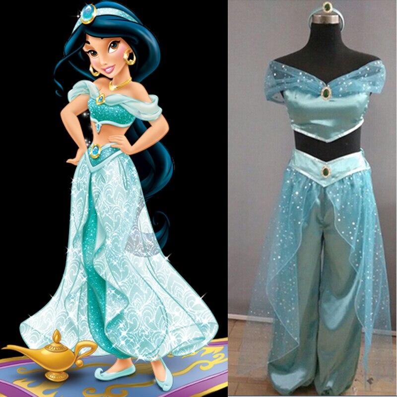 2017 aladdin and the magic lamp princess jasmine cosplay costume princess jasmine costume adults. Black Bedroom Furniture Sets. Home Design Ideas