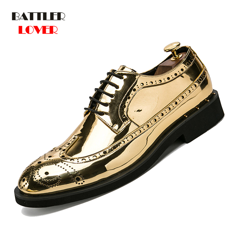 Gold Silver Color Design Brogue Oxford Shoes For Men Italian Formal Ballroom Dress Footwear New Males Patent Leather Flats Shoes