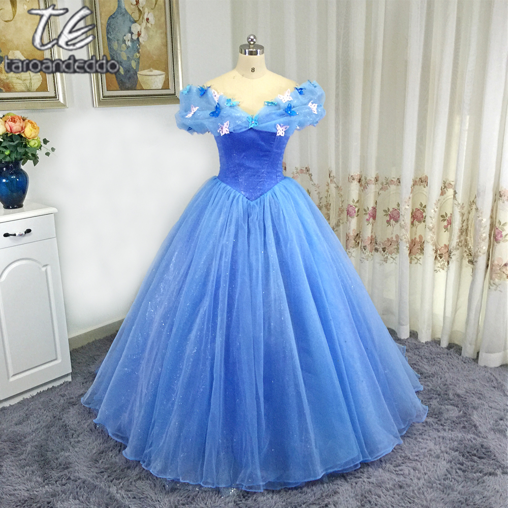 Off The Shoulder Butterfly Decoration Blue Cinderella Cosplay Prom Dress Corset High Quality Evening Gown Ball Gowns Vestido De