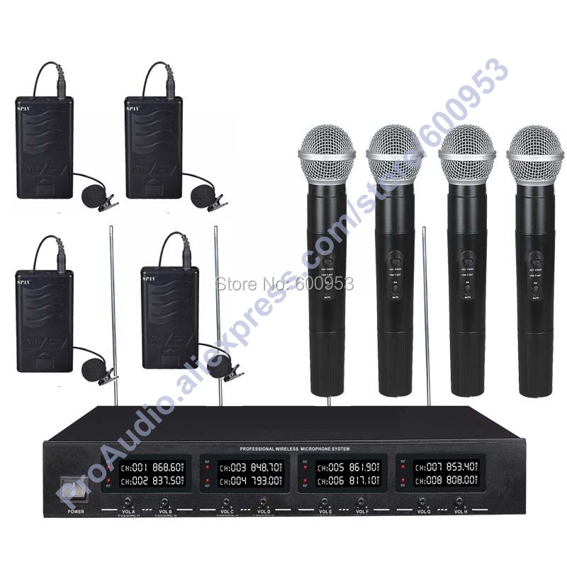 MICWL 2038-4H4V High-End 4 Lapel Lavalier 4 Handheld Mics UHF LED Digital Radio Cordless Wireless Karaoke Microphones System