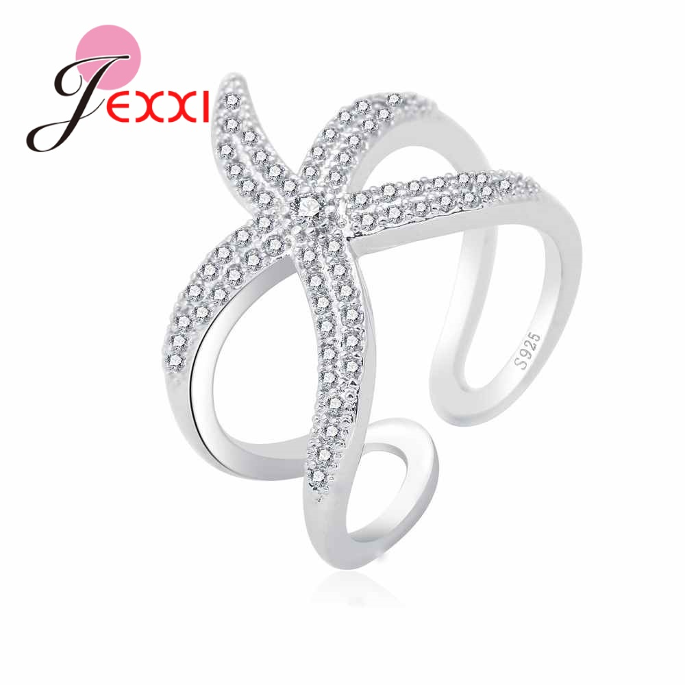 Factory Price 925 Sterling Silver Brand Jewelry Paved Full White CZ Zircon Stone Cute Seastar Adjustable Rings For Girls