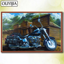 OUYIJIA 5D DIY Diamond Full Square Halle Moto Scenery Cartoon Motorcycle Diamond Embroidery Sale Picture Of Rhinestone Mosaic(China)