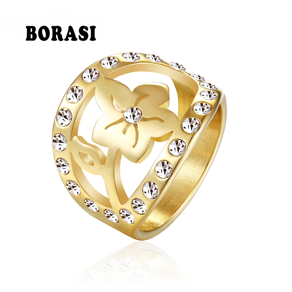 BORASI Flowers Crystal New Ring Stainless Steel Women Rings Gold-Color Party Ring Wedding Fashion Jewelry Valentine's Gift