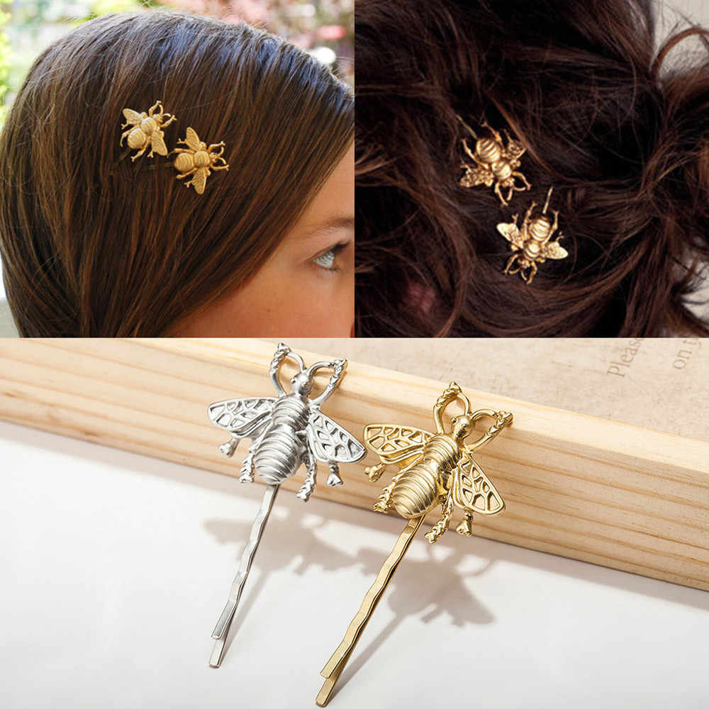2pcs Style Girl Exquisite Gold Bee Hairpin Side Clip Hair Accessories Заколки Для Волос Crown Украшения Для Волос Hair Pins