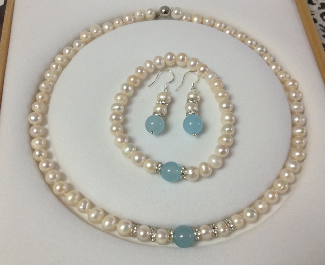 New 7 8mm White Pearl Aquamarine Necklace Bracelet Earring Set