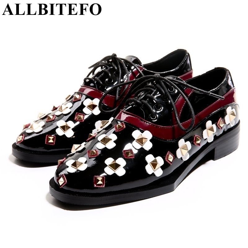 Fashion brand thick heel round toe flower rivets Retro women pumps lace up genuine leather platform