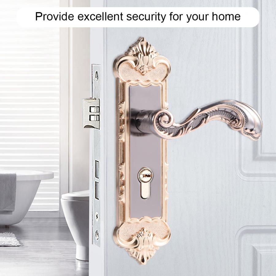European Style Retro Door Handle Lock Aluminum Alloy Vintage Interior Bedroom Lock Anti-theft Home Room Safety Door Locks