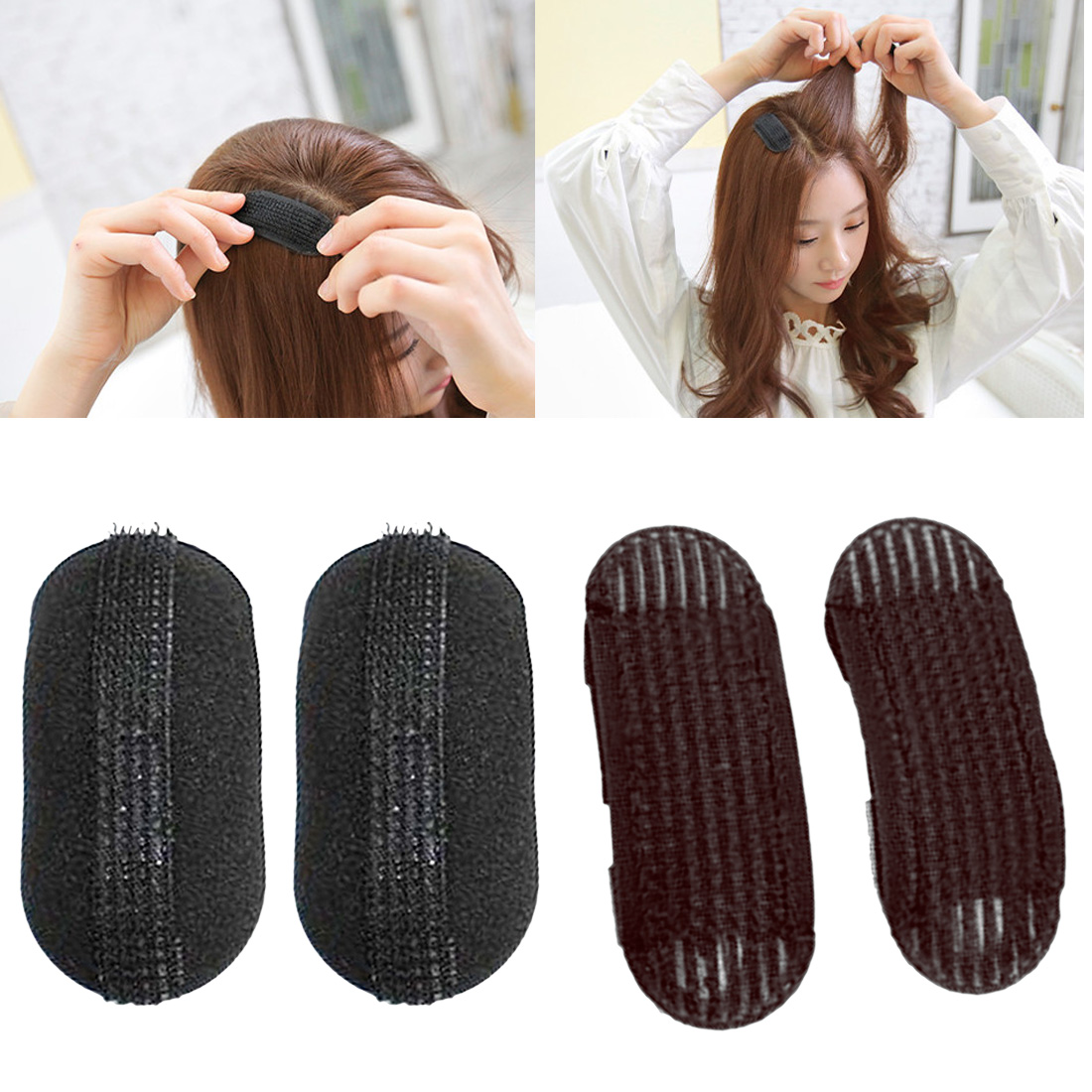 2PCS Princess Design Hair Bump It Up Volume Hair Base Barrettes Inserts Beehive Sponge Hair Bun Maker Pad Styling Accessories