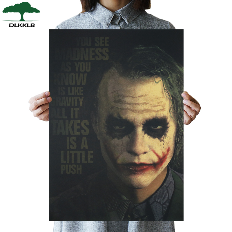 DLKKLB DC Batman Dark Knight Vintage Poster Clown Classic Movie Decorating Wall Sticker Bar Cafe 51.5x36cm Decorating Painting