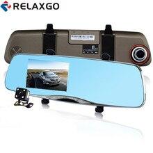 On sale Relaxgo 4.3″ Car DVR Dual Lens Reverse Image Car Camera Novatek 96655 Full HD 1080P Rearview Mirror DVR Night Vision Black Box