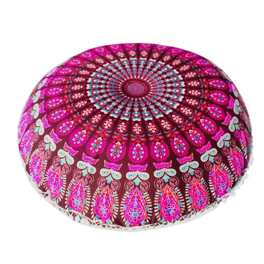 Pillow Case Cover Indian Mandala Round Pillowcase Home Decor Polyester Living Room Cushion Covers 18JAN9