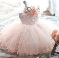 2016 Summer Infant Girls Princess Dress Kids Clothes Lace Layer Bow Dress Newborn Baby Costume 1years
