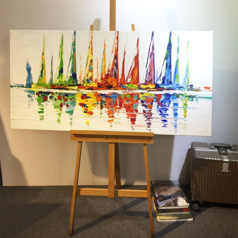 Akrylowy jacht statek łódź żeglarstwo malarstwo ręcznie malowane - Wystrój domu - Zdjęcie 6