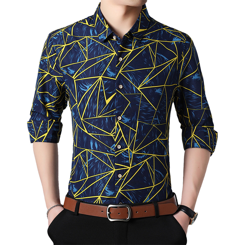Spring Autumn Shirts Men Casual Geometric Print Long Sleeve  Plus Size 6XL 7XL Blouse Shirt Fashion Slim Fit Male Formal Tops