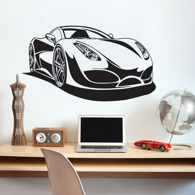 Sports Car Wall Murals Vinyl Art Decals Removable Adhesive Wallpaper