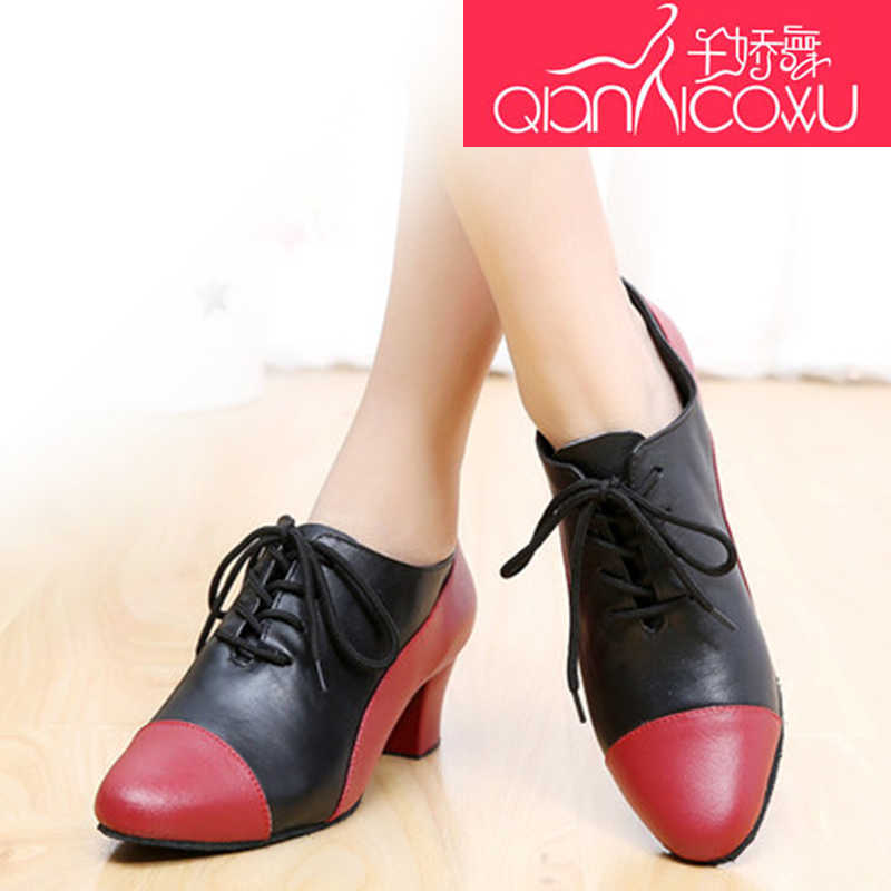 Kırmızı Latin Dans Ayakkabıları Kadın Yetişkin Düşük Yükseklikli Ilkbahar Ve Yaz Deri Modern Dostluk Dans Öğretmenleri Ayakkabı Yumuşak Alt 7019