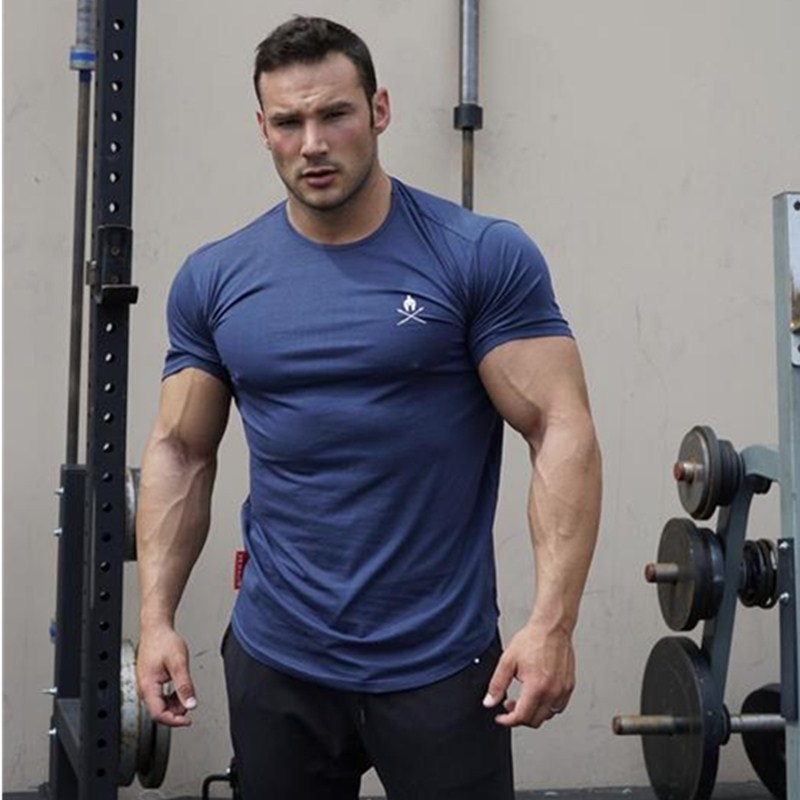 2018 Men Gyms Fitness T-shirt  Workout Cotton t shirts Mens Short sleeve Printed Tee Tops Fashion Casual clothing strength training
