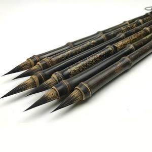 Лидер продаж, Китайская традиционная каллиграфическая ручка, кисть для средней и малой каллиграфии, бамбуковые кисти, 2 шт.
