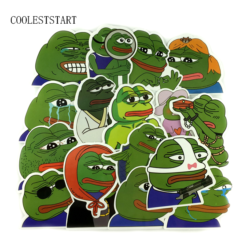 2 Kind 17Pcs/Lot Spoof Pepe Sad Frog Graffiti Sticker For Laptop Luggage Skateboard Car Motorcycle Snowboard Decal Toy Stickers