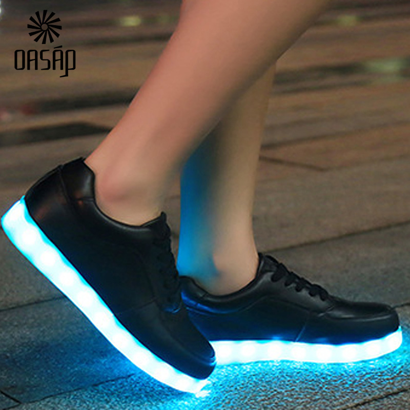 OASAP men shoes Glowing Shoes White/Black Light Up Shoes LED Luminous Shoes chaussure femme Neon Basket LED superstar 93786-in Men's Casual Shoes from Shoes ...