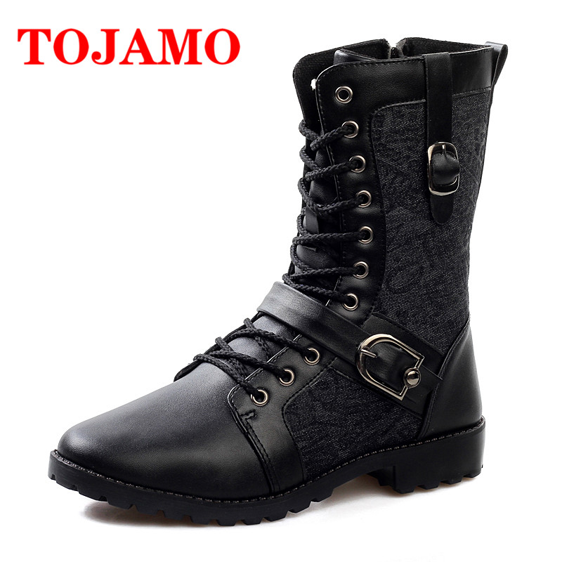 TOJAMO Winter Boots For Men Safety Military Shoes Zapatos de Hombre Male Desert Cowboy Winter Shoes Ankle Warm Boots For Men fashion winter shoes men military boots outdoor warm snow boots ankle flat boots anti skid safety shoes zapatos de hombre