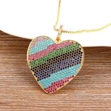 6 pçs micro pave completa cz coração colar para mulher corrente coração amor pingente colar boêmio gargantilha para senhoras fina festa jóias