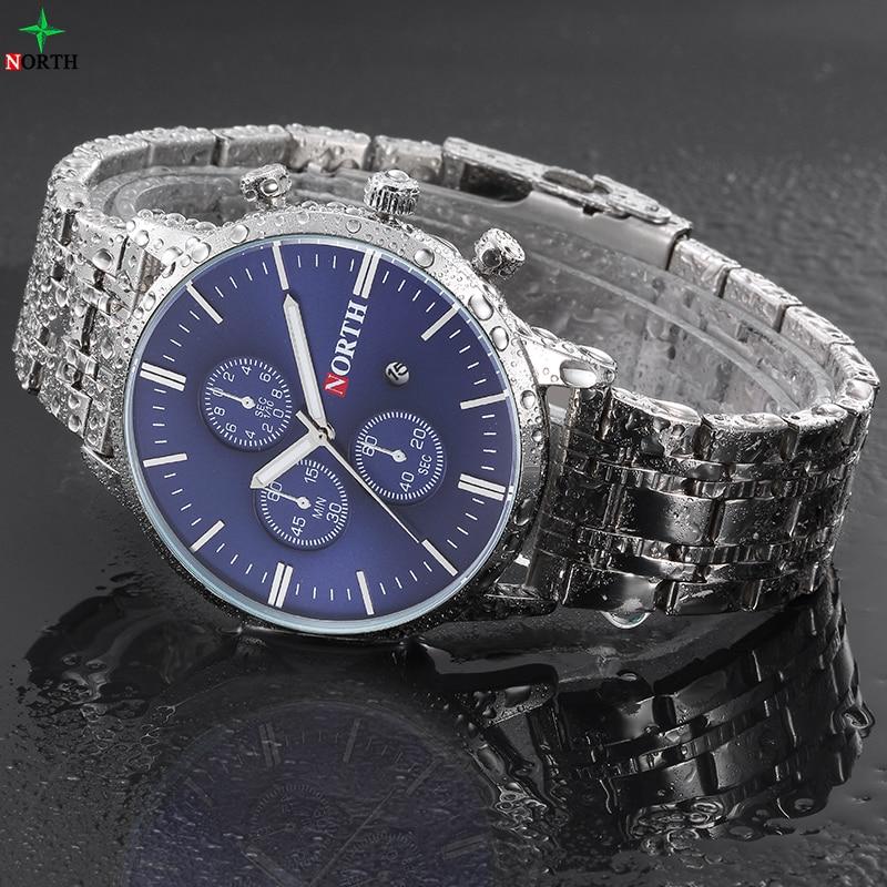 Prix pour NORTH Nouveau Top Montre De Luxe Hommes Horloge de Marque Hommes Montres En Acier Inoxydable Quartz Montre-Bracelet De Mode Casual Montres Reloj Hombre