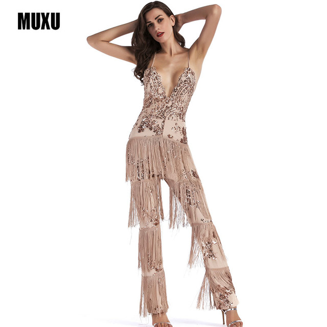 a0563f9d1b0 MUXU summer gold sequin glitter jumpsuit bodysuit feminino sexy long  jumpsuit women summer transparent sleeveless jumpsuits