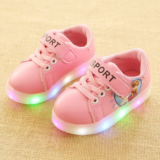 96519487446 Hook Loop 2018 high quality girls shoes LED sports shoes for kids rubber  Leisure beautiful baby children sneakers toddlers