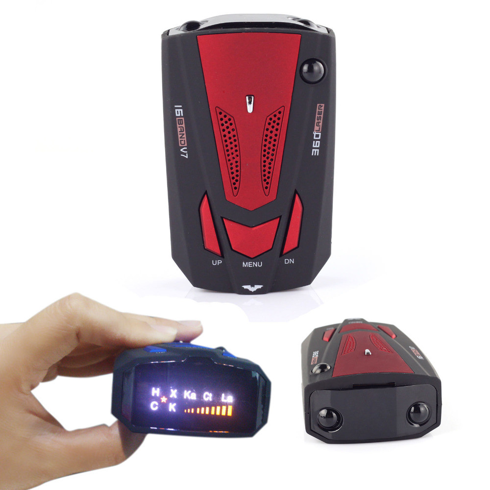 360 grados vehículo V7 velocidad voz Viecar coche Radar Detector inglés ruso Auto 16 banda LED Display alarma advertencia