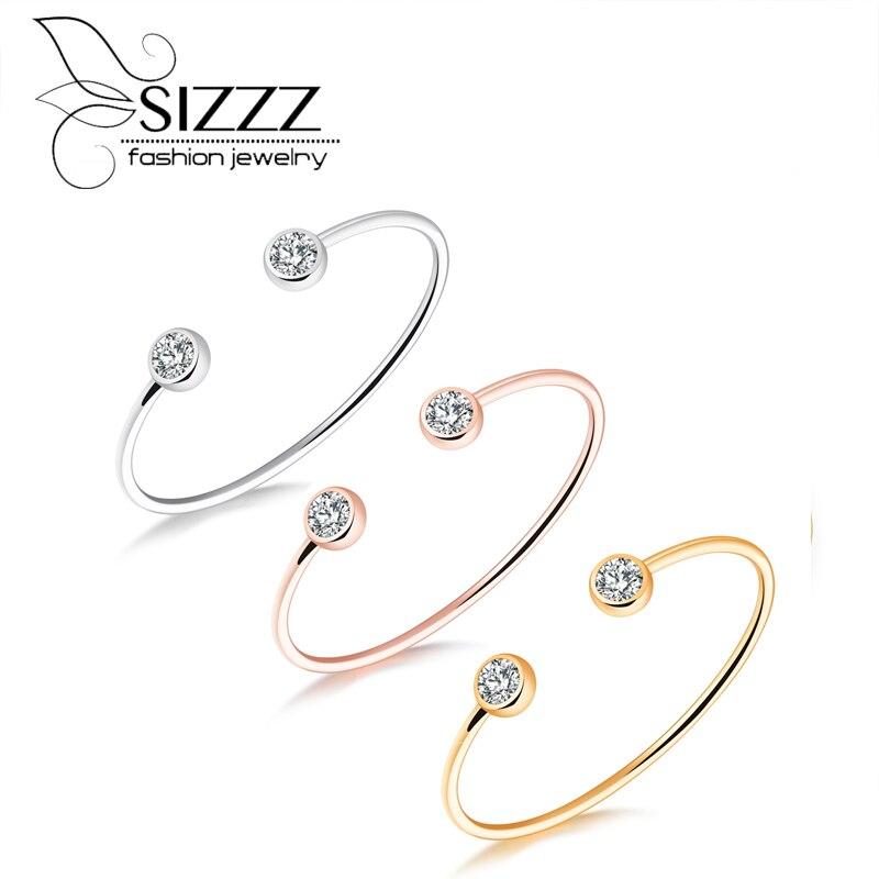Sizzz выброса смешанная партия модные простые тонкие дрель браслет сплав покрытие цвета розового золота браслет и браслеты для женщин