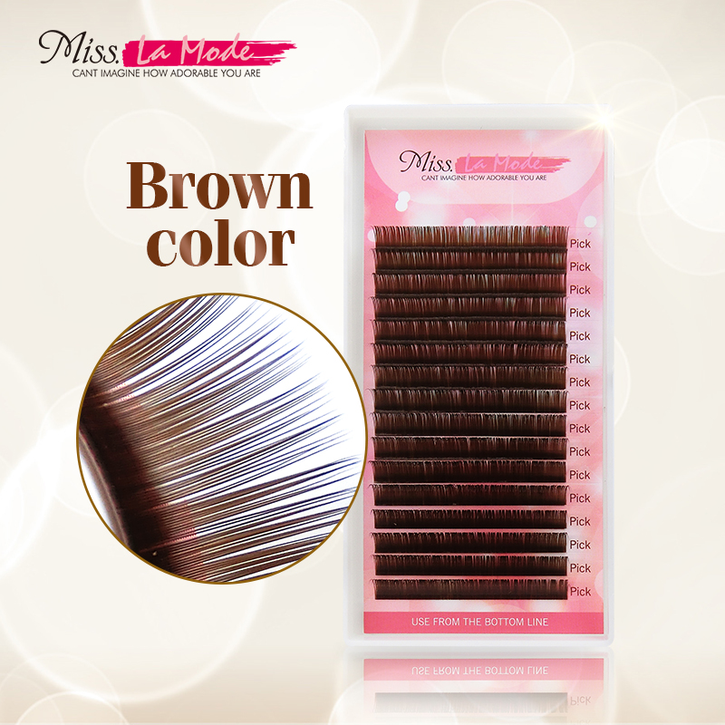 Misslamode Dark Brown Eyelash Extension Mink Eyelashes Soft Russian Volume Fake Lashes Color Natural Lashes 0.07thickness Makeup