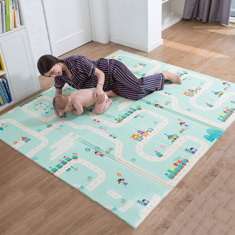 цена Infant Shining 180X200CM XPE Play Mat 1CM Thickness Cartoon Baby Play Mat Foldable Anti-skid Carpet Children Game Mat B онлайн в 2017 году