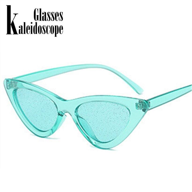 Kaleidoscope Glasses Small Cateye Sunglasses Women Vintage Sexy Cat Eye Frame Tint Red Shiny Lens Sun Glasses for Female UV400