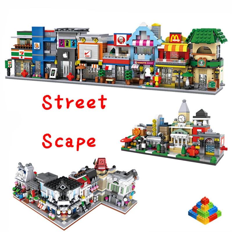 Galleria fotografica LOZ Diamond Mini Street Architecture Building Blocks Mini Street View Scene Coffee Shop Retail Store Compatible <font><b>Legoing</b></font> <font><b>City</b></font>