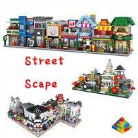 LOZ Diamond Mini Street Architecture Building Blocks Mini Street View Scene Coffee Shop Retail Store Compatible