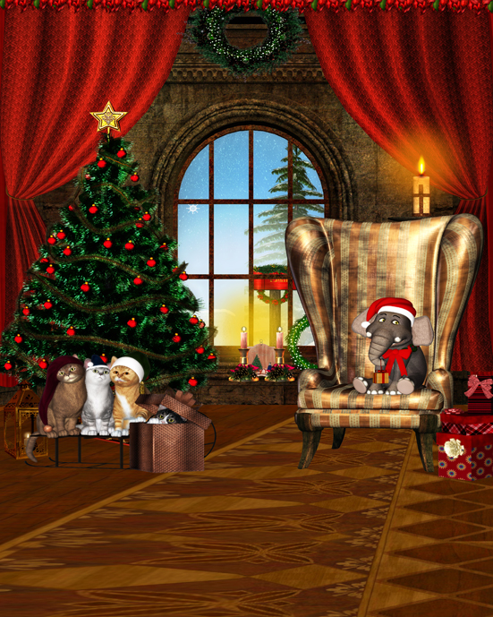 Armchair Christmas Tree Cute Cat 5x7ft Photo Background Photo Studio Props Christmas Vinyl Backdrops for Photography gramercy кресло severin armchair