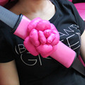 one pair Senior Hot Pink leather Car Seat Safe Belt Covers Set /Car Styling Safety