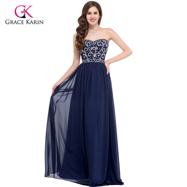 Aliexpress.com : Buy Grace Karin Navy Blue Red Beaded Evening ...
