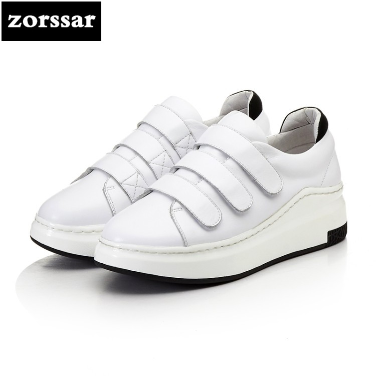 {Zorssar} 2018 New Spring high quality Genuine Cow Leather Women sneakers Casual Flats sport shoes outdoors Walking shoes White high quality walking shoes thick crust sneakers female ins the hottest shoes 2018 new small white women s sport shoes wk46