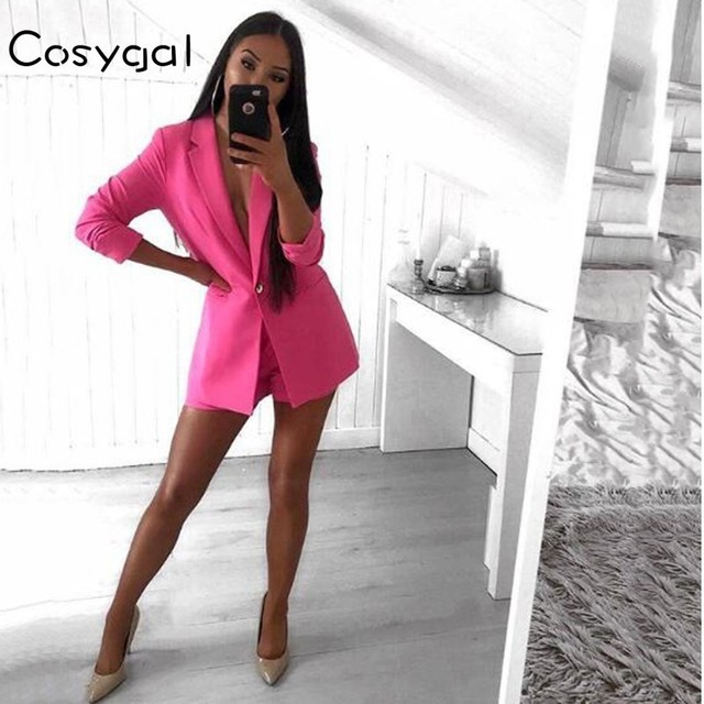 COSYGAL Collar Business Suits 2018 Autumn 2 Piece Set Full Sleeve Top And  Pants Women Two 35b97070704f