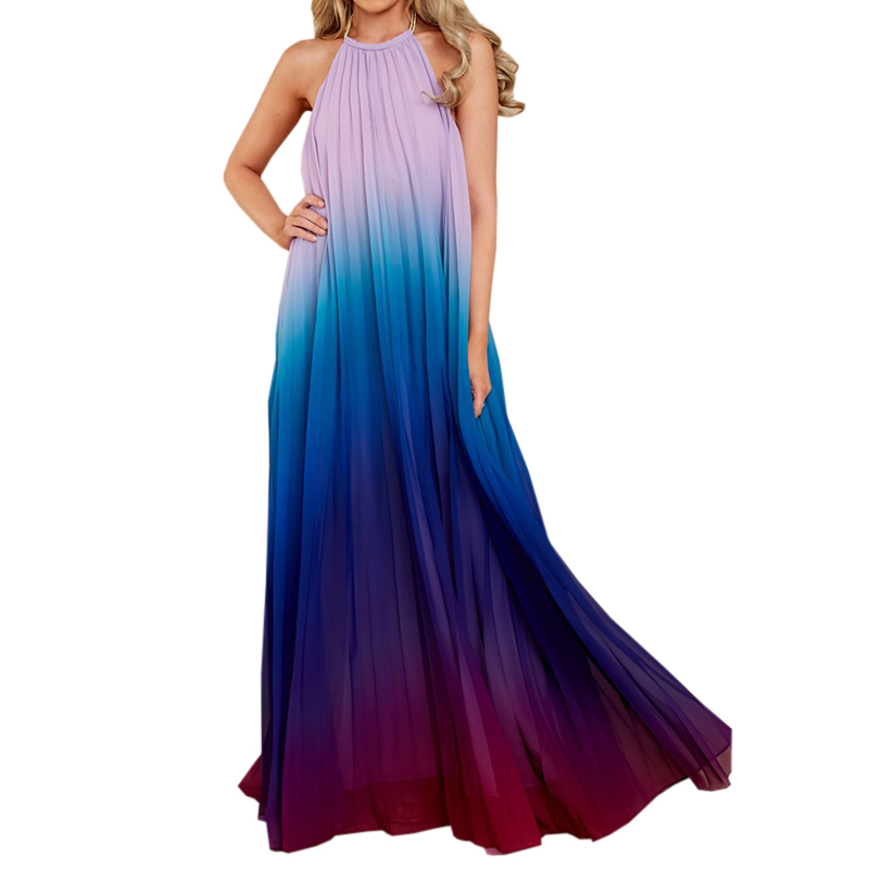 Buy 2018 Sexy Women Backless Maxi Ombre Pleated Sleeveless Summer Chiffon Dress Halter Neck Long Boho Beach Dress